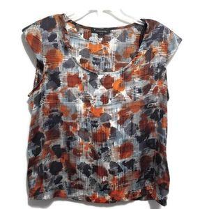 twentyone  blue and orange short sleeve blouse
